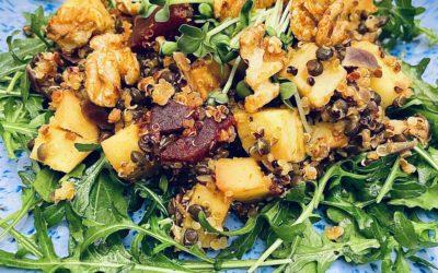 Ayurveda Mittagessen: Geschmorte Pastinaken- und Rote Beetewürfel an Quinoa-Beluga-Linsen mit kandierten Walnüssen auf einem Rucola-Bett